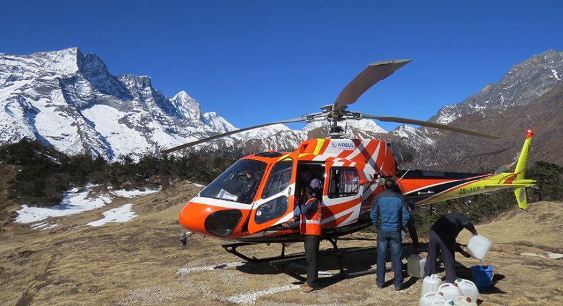 Helicopter at Everest View Hotel, Syangboche