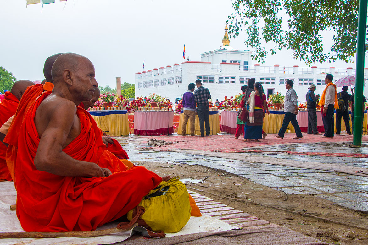 A rainy day in Lumbini, the place where, according to Buddhist tradition, in 563 BCE Queen Maya devi gave birth to Siddhartha Gautama, who later became the Gautama Buddha.