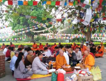 Buddhist Monks in Lumbini, A birth place of Lord Buddha