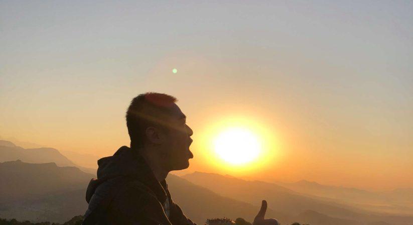 sunrise view from sarangkot enjoying