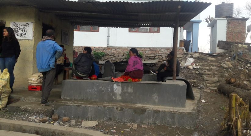 locals during Khokana- Taudaha flat hike